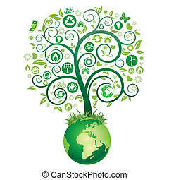 terra, árvore, verde
