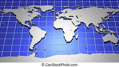 terra, 3d, mapa