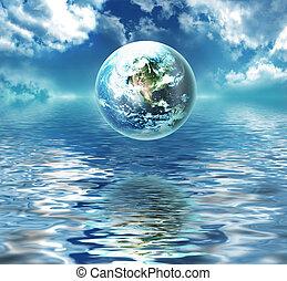 terra, acima, a, água