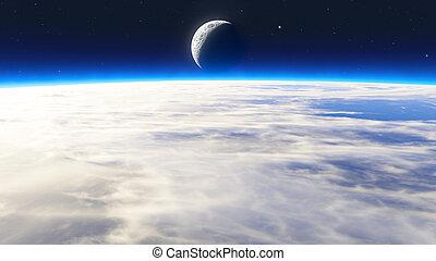 terra, alba, nubi, stelle, luna