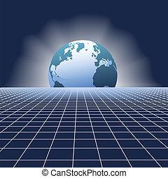 terra, alzarsi, globo, sopra, comunicazioni, rete, griglia