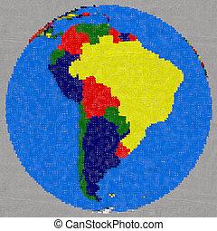 terra, américa, desenho, sul