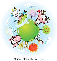 terra, animal, fazenda