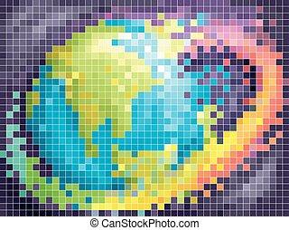 terra, arte, pixel, illustrazione, arcobaleno