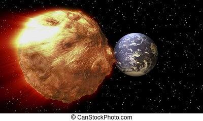 terra, asteróide, -, espaço