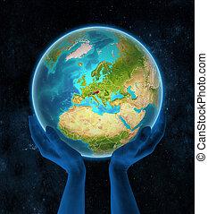 terra, austria, mani, spazio