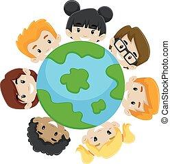 terra, bambini, diversità
