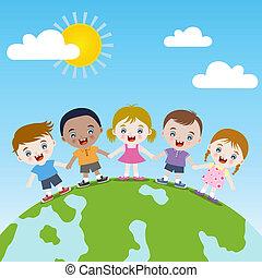 terra, bambini, insieme, felice
