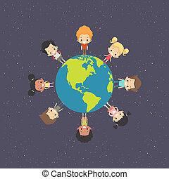 terra, bambini, intorno