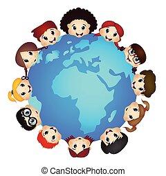 terra, bambini, intorno, felice