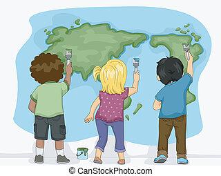 terra, bambini, mappa