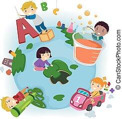 terra, bambini, stickman, educazione