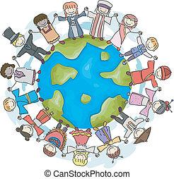 terra, bambini, tradizionale, costumi