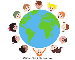 terra, bambini, vario, intorno