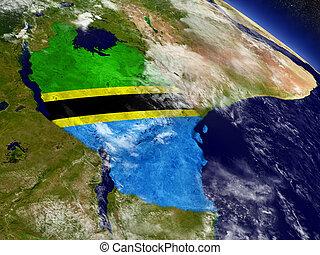 terra, bandiera tanzania, conficcato