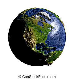 terra, bianco, america, nord, isolato