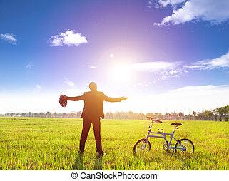 terra, bicicleta, relaxante, sol, verde, homem negócios