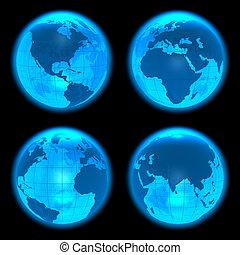 terra, blu, ardendo, globi, set