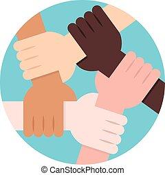 terra, círculo, solidariedade