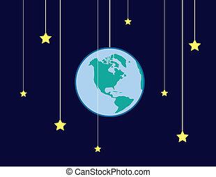terra, cadeias, estrelas
