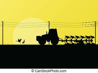 terra, campos, cultivado, ilustração, vetorial, trator, ...