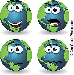 terra, caricatura, emoções, ícones