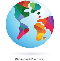terra, coloridos, mundo, ícone