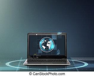 terra, computer portatile, schermo, globo