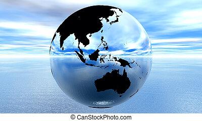 terra, contro, cielo blu, su, acqua