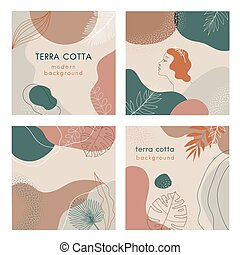 Terra cotta color Social media banners set of abstract modern backgrounds