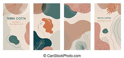 Terra cotta color Social media stories set of abstract modern backgrounds