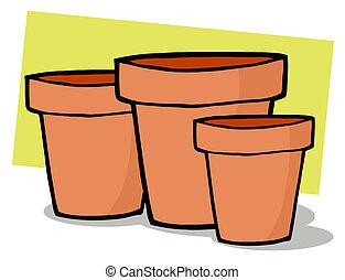 Terra Cotta Pots  - Three Terra Cotta Pots