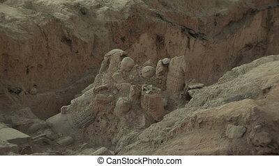 Terra Cotta Warriors Partially Excavated