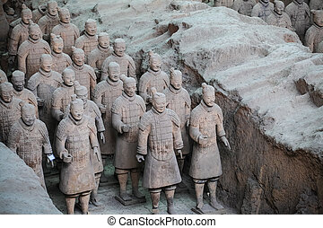 terracotta warriors of the chinese qin dynasty protect their emperor.
