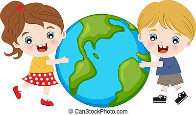 terra, crianças, abraçando