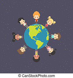terra, crianças, ao redor