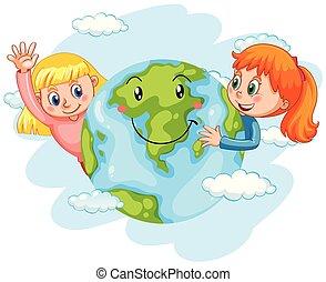 terra, crianças, feliz