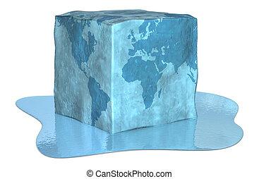 terra, cubo, gelo