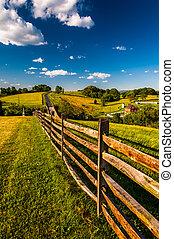terra cultivada, (vertical)., colinas, cerca, nacional,...