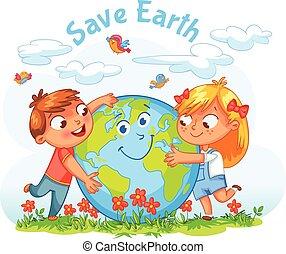 terra, day., ragazzo ragazza, abbracciare, globo