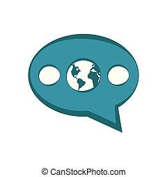 terra, dentro, bolla, chiacchierata