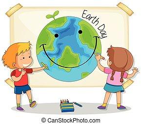 terra, desenho, crianças, dia