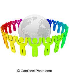 terra, diferente, cores, ao redor, pessoas
