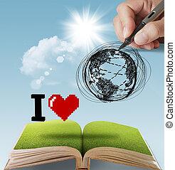 Terra, disegnato, Amore, mano