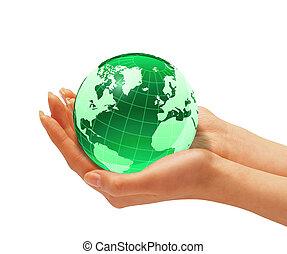 terra, donna, globe., tenere mani