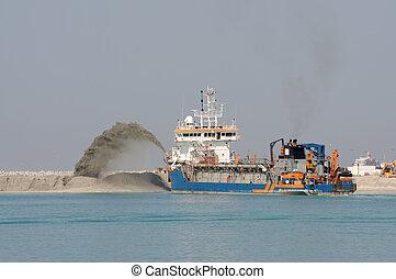 terra, dredge, creare, spinta, arabo, sabbia, unito,...