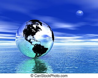 terra, e, lua, em, meditação