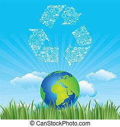 terra, e, meio ambiente, ícone