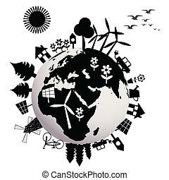 terra, ecológico, conceito, globo