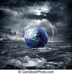 terra, em, a, tempestade